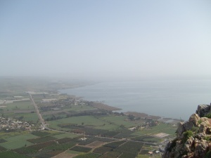 The Sea of Galilee from Arbel.  7 March 2014.