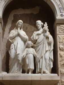 Statue of the Holy Family outside the Church of St. Joseph.  Nazareth.