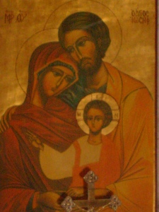 Photo of the Holy Family Icon.  Taken by JMN.  10 March 2014.