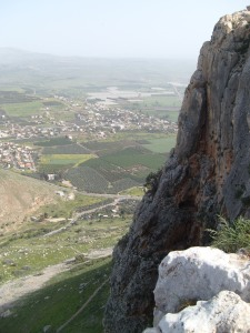 A View of Magdala and the Valley Road (or Valley of Doves) from Mount Arbel.  (Jesus' route from home in Nazareth to the Sea of Galilee).