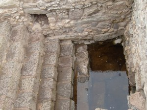 A Mikvah found in First Century Magdala -- 7 steps down into living/running water for purification baths in Jewish homes.