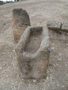 A remaining ancient manger (for feeding horses) on Megiddo.