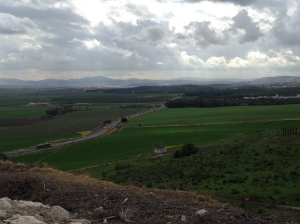 A view from Megiddo of the Jezreel Valley.  10 March 2014.
