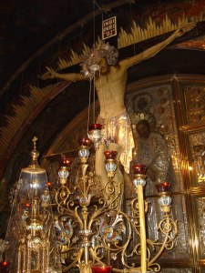 Site of the Crucifixion at the Church of the Holy Sepulcher.