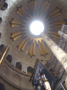 Dome over the Empty Tomb at the Church of the Holy Sepulcher, Jerusalem.  Photo by JMN, March 2014.