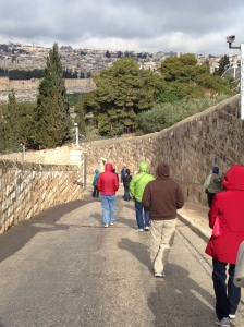 The Palm Sunday Road from the Mount of Olives into Old Jerusalem.